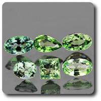 ZAFIRO Verde. 1.94 cts. 6 piezas. VVS1. Ceilán, Sri Lanka