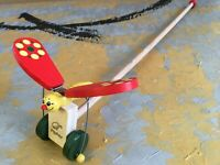 Fluttering Wings, Clapping Butterfly; Hand Crafted Wooden Push Along Toy