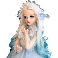 Gradient Blue Perücke 1/3 Kugelgelenk Mädchen 60cm BJD Puppe mit Augen BJD Doll