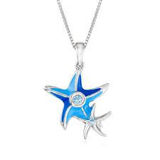 Синяя эмаль и голубой Топаз-акцентированные морская звезда подвеска ожерелье из чистого серебра