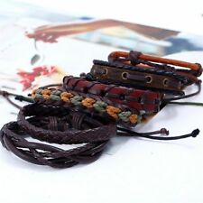 6pcs/set Mens Punk Leather Wrap Braided Wristband Cuff Punk Bracelet Bangle New
