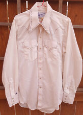 Vtg ROCKMOUNT Western Shirt-15 M-Tru West-White-Snap Pearl Button-Cowboy-old tag
