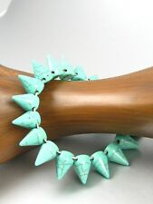 Spike Turquoise Gemstone Beads Stretchy Bracelet Women Fashion Costume Jewelry