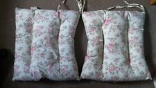 """Seat cushions, 15""""x16""""x3"""" thick. Floral, Beige/ Pink flowers, PVC, cotton, silk."""