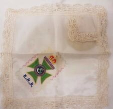 Genuine Rare Antique WW1 Embroidered Crest Silk & Lace Handkerchief Hanky K.R.R.