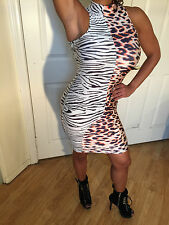 Connie's Animal Print Zebra and Leopard Print Mock Neck Mini Dress S