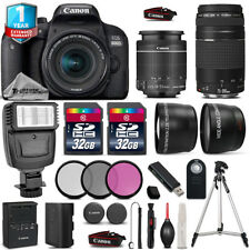 Canon Rebel 800D T7i + 18-55mm IS STM + 75-300mm + 64GB + Flash + 1yr Warranty