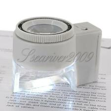 LED Illuminated 8X Magnifier Magnifing Jewelry Loupe With Adjustable Focus&Scale