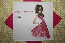 Handmade Personalised Teen Girl Fashion Birthday Card Any Age 13 14 15 16 17 18