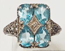 Designer Signed CNA Thailand Sterling Silver Sim Blue Zircon Diamond Ring Sz8