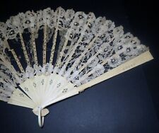Antique 1800s Victorian Large Hand Fan - Hand Carved & Lace Work