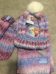 Frozen Hat Scarf and Glove Mittens Set BNWT 8-12 years Anna and Elsa