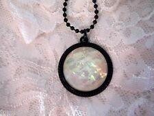 KARMA Moonstone Opal Fire Necklace Pendant Cameo Round Goth Opalite chakra YOGA
