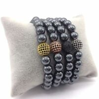 Charm Men Bracelet 8mm Hematite Beads Pave Black CZ 10mm Ball Charm Bracelets