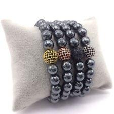 Charm Men Bracelet 8mm Hematite Beads Pave Black CZ 10mm Ball Charm Bracelets