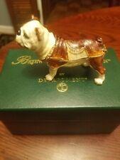 Bejeweled Bull Dog Trinket Box. Hand Made with Swarovski Crystals & Enamel