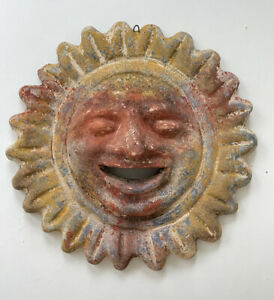 Vintage Carved Terracotta Sun Face Wall Decoration - Garden Ornament