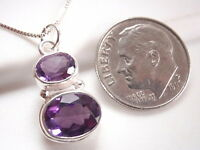 Faceted Amethyst 2-Gem 925 Sterling Silver Pendant Corona Sun Jewelry