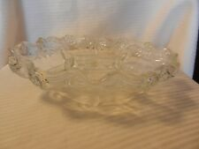 1970s Crystal Footed Relish Serving Bowl 5 Sections Bows and Flower Design