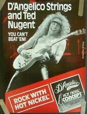 TED NUGENT 1980'S VINTAGE D'ANGELICA GUITAR STRINGS  MUSIC STORE PROMO POSTER