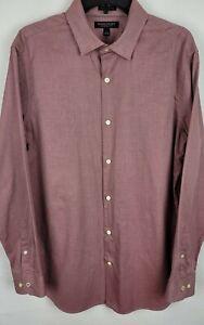 Banana Republic Mens Large Burgundy Oxford Camden Fit Button Up Collared Shirt