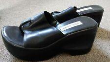 Steve Madden Black Leather Shoes Thongs Heels Sandal Pump Slip on Flip Flops 7.5