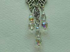 BUTTERFLY CRYSTAL CHANDELIER BEADS REAR VIEW MIRROR CAR CHARM MOBILE ORNAMENT