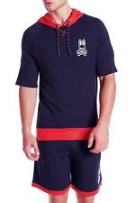 PSYCHO BUNNY Lightweight Short Sleeve Hoodie in Peacoat Blue Sz.Medium NWT $49