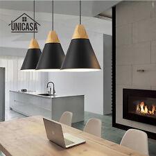 Modern Ceiling Lights Office Black Chandelier Bar LED Lamp Wood Pendant Lighting