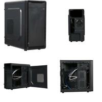 Case Shell Fan Atx Mid Tower Black Desktop Pc Gaming Steel and plastic computer