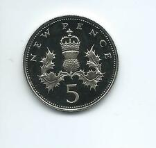 1980  Royal Mint Proof 5p coin taken from a Royal Mint Proof Set.