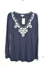 Lilly Pulitzer Size Medium Navy Blue Tunic Embroidered Sweater Top BNWT