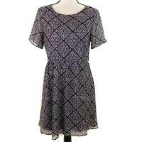 Lush Dress Womens Size Large Black Gray Print Sheer Skater Short Sleeve Lined
