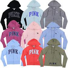 Victoria's Secret, розовый с капюшоном легкий полный молнии толстовка графический логотип новый