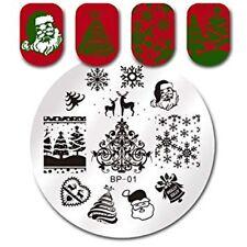 Copo de Nieve Navidad Santa Para Uñas Stamping Placa Placas de sello imágenes Designs