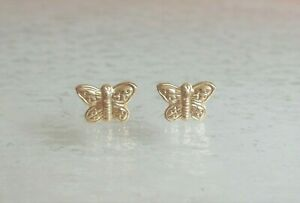 14K Yellow Gold Stamped, 0.2 grams, Miniature Butterfly Stud Earrings Set.