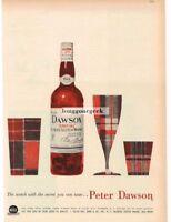1959 PETER DAWSON Scotch Whiskey Plaid Glasses art VTG PRINT AD