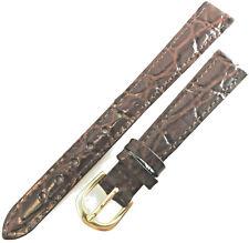 Ladies Brown Speidel Crocodile Grain Padded Leather 13mm Watch Band Strap EZ Pin