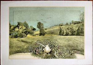 GIUSEPPE GIANNINI litografia MOMENTO nel PAESAGGIO 70x50 firmata numerata 1980