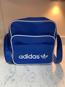 """W91 Vtg Adidas Trefoil Messenger Shoulder Bag Handbag Blue Size 11""""/ 12""""/ 4"""""""