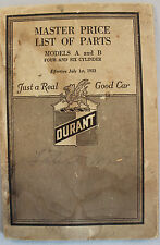 1923 Durant Model A and B Original Master Price List of Repair Parts Book