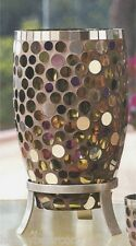 New Partylite MIRANOVA HURRICANE Mosaic Tall Candleholder Colored Circular Glass