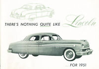 1951 Lincoln Sedan and Coupe Original Sales Brochure Catalog