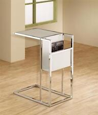 WHITE GLASS AND CHROME SNACK TABLE WITH BUILT IN MAGAZINE RACK