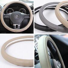 """BEIGE PVC Leather Steering Wheel Cover Chevy Dodge Chrysler Non-Slip 38cm 14-15"""""""