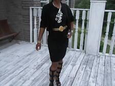 Classy Designer Black Broadtail Fur Coat Skirt Suit Jacket bolero S-M z 2 -8