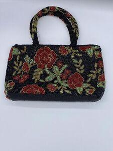 Vintage Beaded Floral Handbag Black and Red Evening Glamour