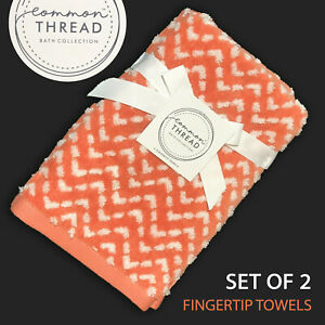SET OF 2 New Common Thread Tip Towels Set Peach Raised Dotted Chevron Texture