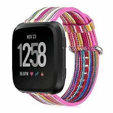 Colorful Strap Wrist Bands + Stainless Metal Clasp For Fitbit Versa Tracker Us