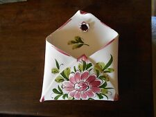 WALL POCKET HAND MADE IN ITALY PINK FLOWER GREEN LEAVES